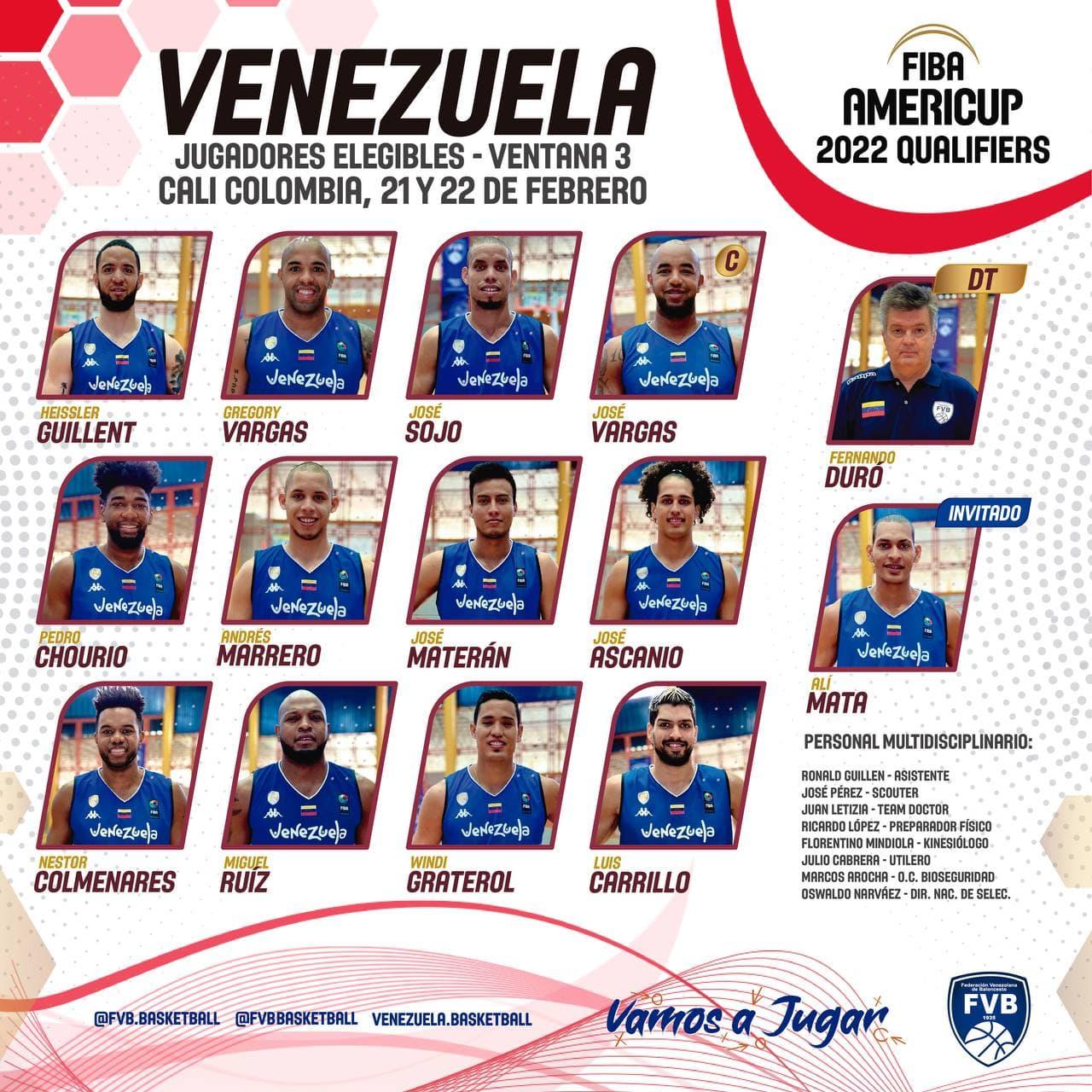 Listos los 12 de Venezuela para enfrentar a Colombia y Chile